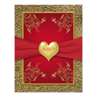 Rich Red and Gold RSVP Card 11 Cm X 14 Cm Invitation Card