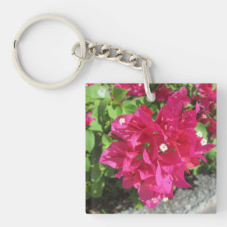 Rich Red Bougainvillea Double-Sided Square Acrylic Key Ring