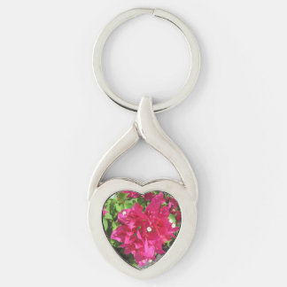 Rich Red Bougainvillea Silver-Colored Twisted Heart Key Ring