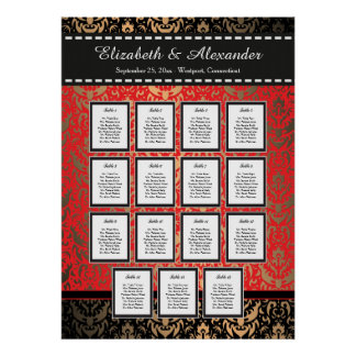 Rich Red Damask Wedding 15 Table Seating Chart Poster