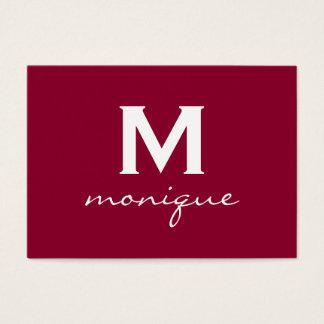 Rich Red Elegant Custom Monogrammed Business Card