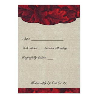 Rich Red Fabric Leaves & Linen rsvp with envelopes 9 Cm X 13 Cm Invitation Card