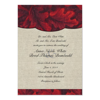 Rich Red Fabric Leaves & Linen Wedding Invitation