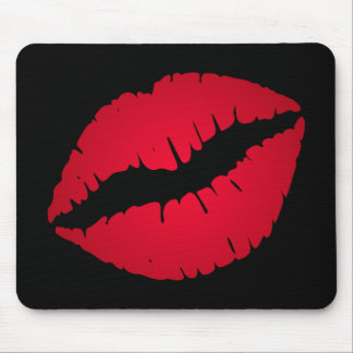 Rich Red Lipstick Print Mouse Pad