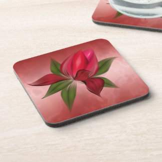 Rich Red Marble with Red Flower Coaster
