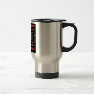 Rich Red n Black Horizontal Stripes Stainless Steel Travel Mug