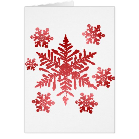 Rich Red Snowflakes Christmas Card