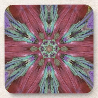 Rich Rose Teal Modern Artistic Pattern Beverage Coaster