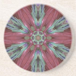 Rich Rose Teal Modern Artistic Pattern Coaster