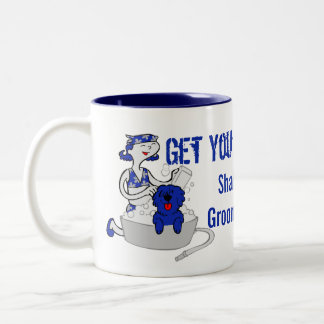 Rich Royal Blue Get Your Groom On Groomer's Custom Two-Tone Coffee Mug