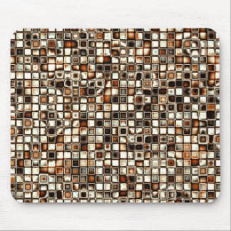 Rich Sepia Tones Textured Grid Pattern Mouse Pad