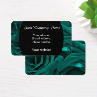 Rich teal blue-green velvety roses floral photo business card