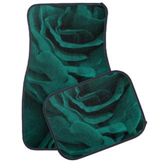 Rich teal blue-green velvety roses floral photo car mat