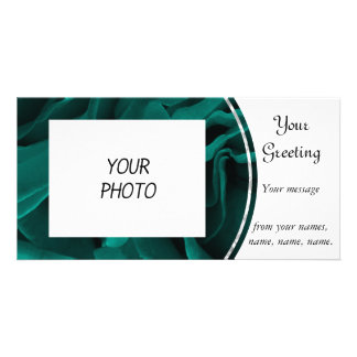 Rich teal blue-green velvety roses floral photo card