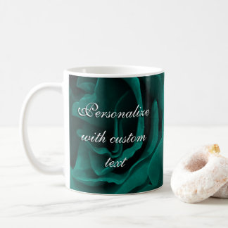 Rich teal blue-green velvety roses floral photo coffee mug