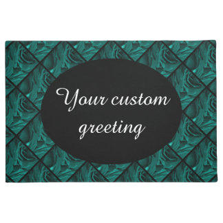 Rich teal blue-green velvety roses floral photo doormat