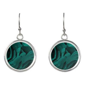 Rich teal blue-green velvety roses floral photo earrings