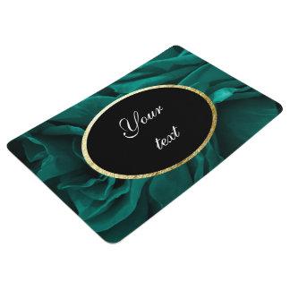 Rich teal blue-green velvety roses floral photo floor mat