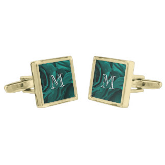 Rich teal blue-green velvety roses floral photo gold finish cuff links