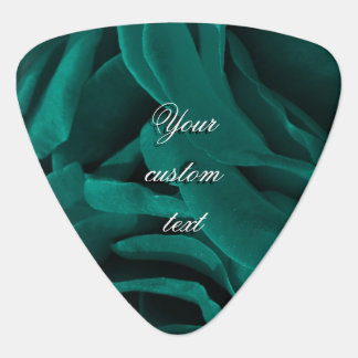 Rich teal blue-green velvety roses floral photo guitar pick
