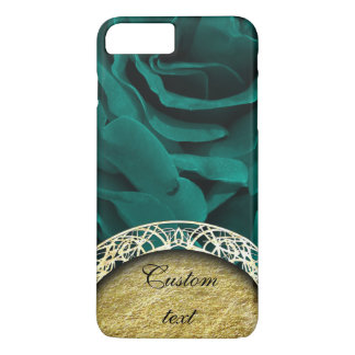 Rich teal blue-green velvety roses floral photo iPhone 8 plus/7 plus case