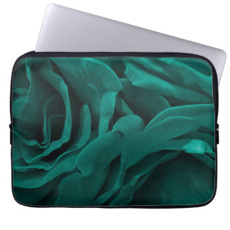 Rich teal blue-green velvety roses floral photo laptop sleeve