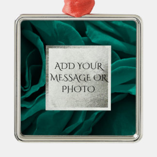Rich teal blue-green velvety roses floral photo metal ornament