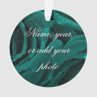 Rich teal blue-green velvety roses floral photo ornament