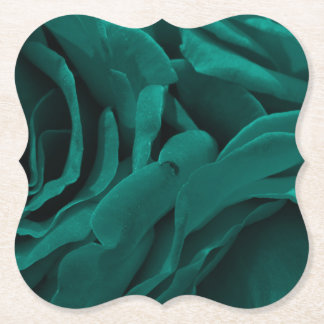 Rich teal blue-green velvety roses floral photo paper coaster
