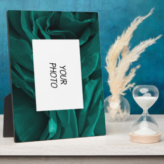Rich teal blue-green velvety roses floral photo plaque