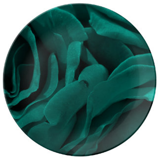 Rich teal blue-green velvety roses floral photo plate