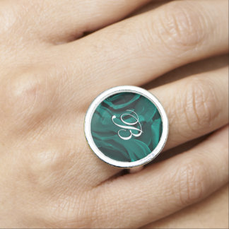 Rich teal blue-green velvety roses floral photo ring