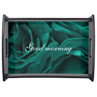 Rich teal blue-green velvety roses floral photo serving tray