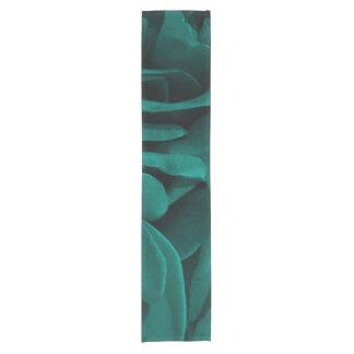 Rich teal blue-green velvety roses floral photo short table runner