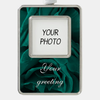 Rich teal blue-green velvety roses floral photo silver plated framed ornament