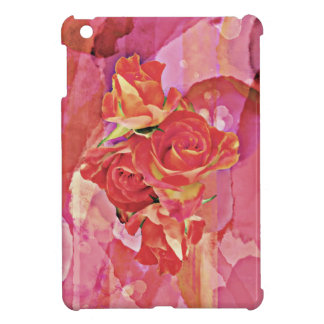 Rich vibrant watercolor rose iPad mini case