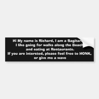 Richard Single Man Bumper sticker