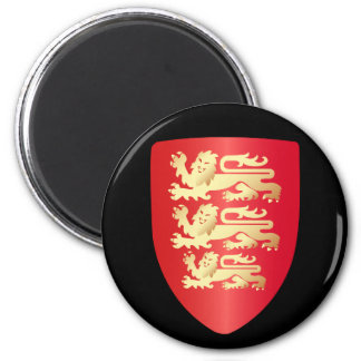 Richard the Lion Heart Shield in red+faux gold 6 Cm Round Magnet
