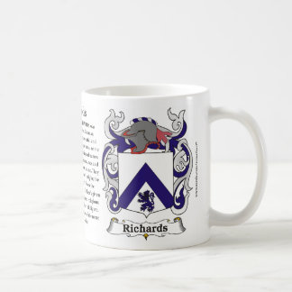 Richards Family Crest including the History and Me Coffee Mug