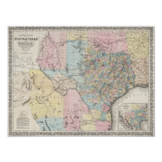 Richardson's New Map Of The State Of Texas Poster