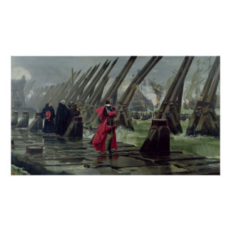 Richelieu  on the sea wall at La Rochelle, 1881 Poster