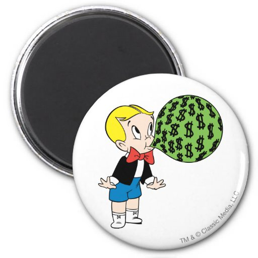 Richie Rich Blowing Bubble - Color Refrigerator Magnets
