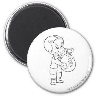 Richie Rich Money Bag - B&W 6 Cm Round Magnet