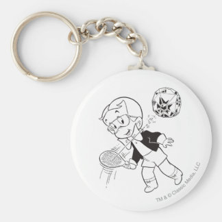 Richie Rich Paddle Ball - B&W Basic Round Button Key Ring