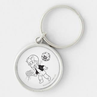 Richie Rich Paddle Ball - B&W Silver-Colored Round Key Ring
