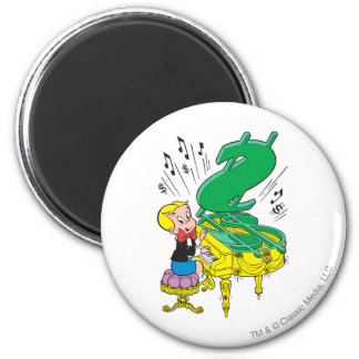 Richie Rich Playing Piano - Colour 6 Cm Round Magnet