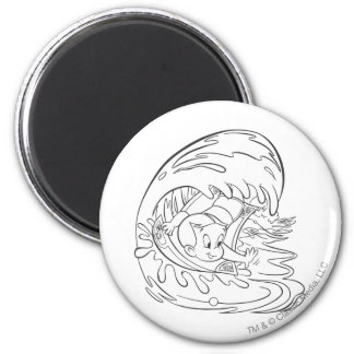 Richie Rich Surfing - B&W Magnet