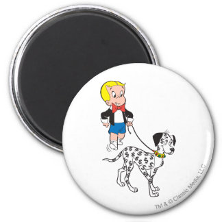 Richie Rich Walks Dollar the Dog - Color 6 Cm Round Magnet