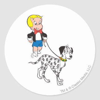 Richie Rich Walks Dollar the Dog - Color Classic Round Sticker
