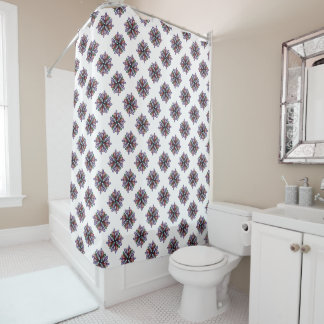 Richly colored swirling floral design on white shower curtain